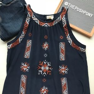 Anthropologie Meadow Rue Tribal Print Tank